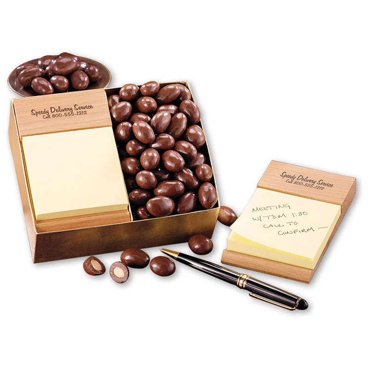 Beech Post-it® Note Holder with Chocolate Covered Almonds