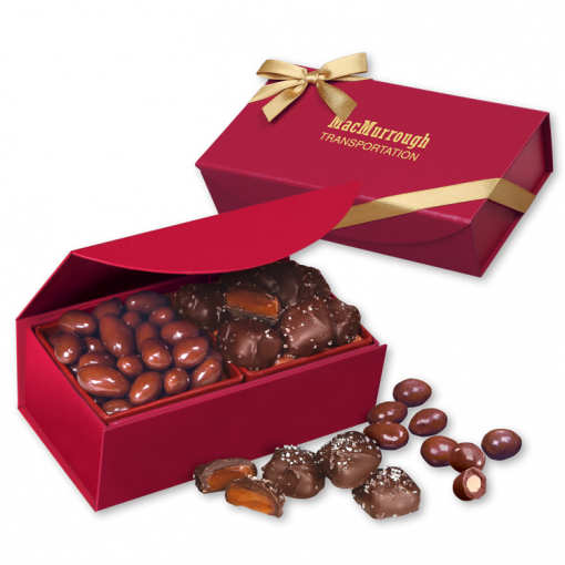 Chocolate Almonds & Sea Salt Caramels in Red Magnetic Box