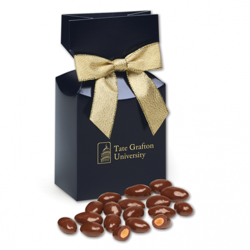Chocolate Covered Almonds in Navy Gift Box