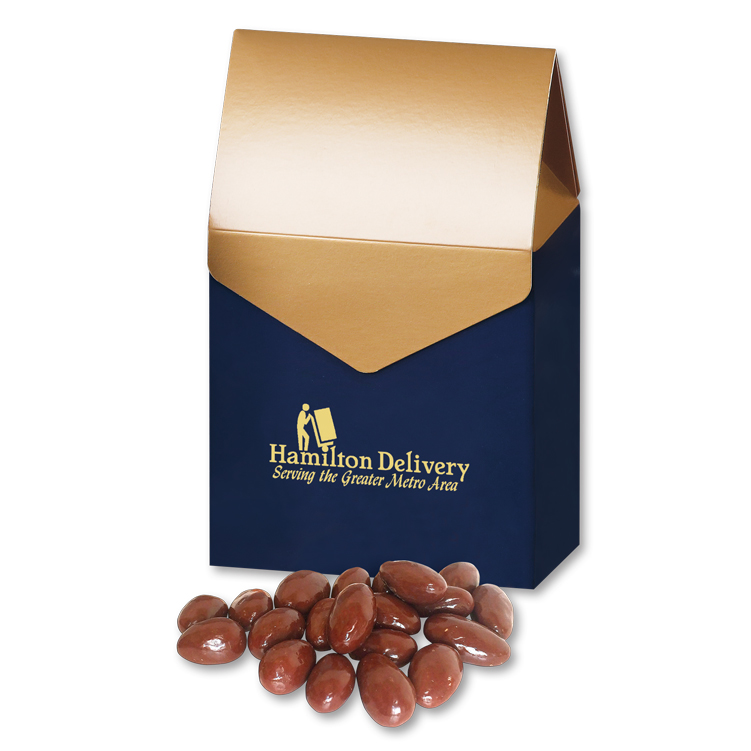 Chocolate Covered Almonds in Navy & Gold Gable Top Gift Box