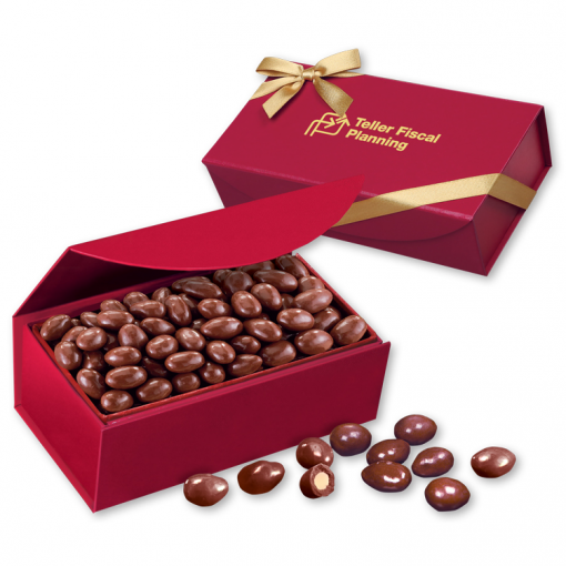 Chocolate Covered Almonds in Scarlet Magnetic Closure Box