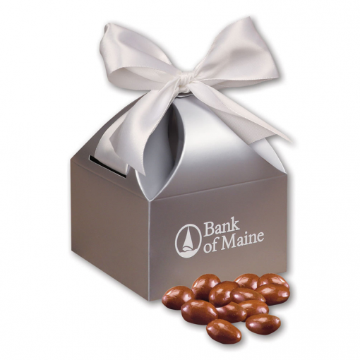 Chocolate Covered Almonds in Silver Gift Box