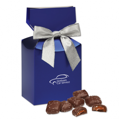 Chocolate Sea Salt Caramels in Metallic Blue Gift Box