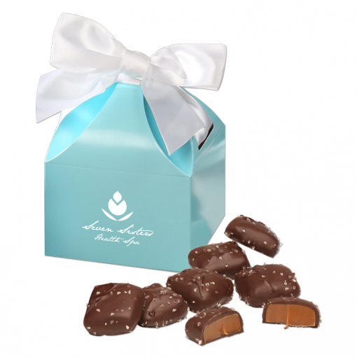 Chocolate Sea Salt Caramels in Robin's Egg Blue Gift Box