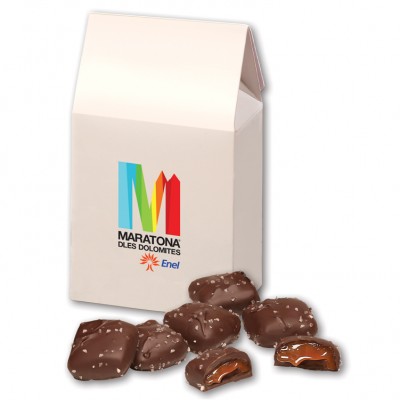 Chocolate Sea Salt Caramels in White Gable Box
