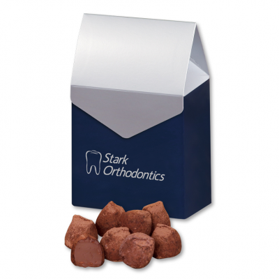 Cocoa Dusted Truffles in Navy & Silver Gable Top Gift Box