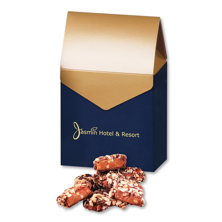 English Butter Toffee in Navy & Gold Gable Top Gift Box