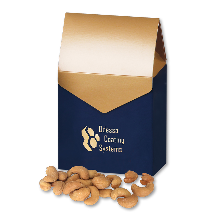 Extra Fancy Jumbo Cashews in Navy & Gold Gable Top Gift Box