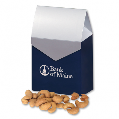 Extra Fancy Jumbo Cashews in Navy & Silver Gable Top Gift Box