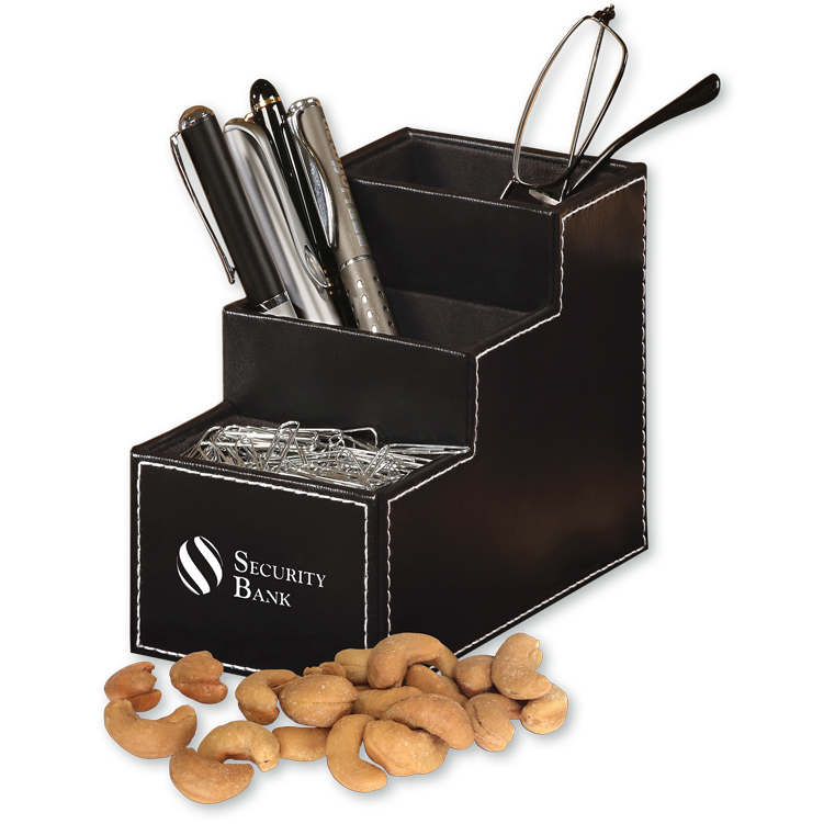 Faux Leather Desk Organizer with Extra Fancy Jumbo Cashews