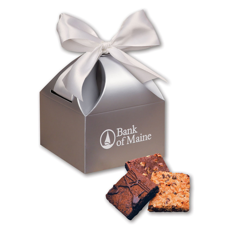 Fresh Baked Brownies in Silver Gift Box