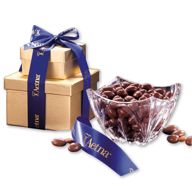 Genuine European Crystal Bowl with Milk Chocolate Almonds
