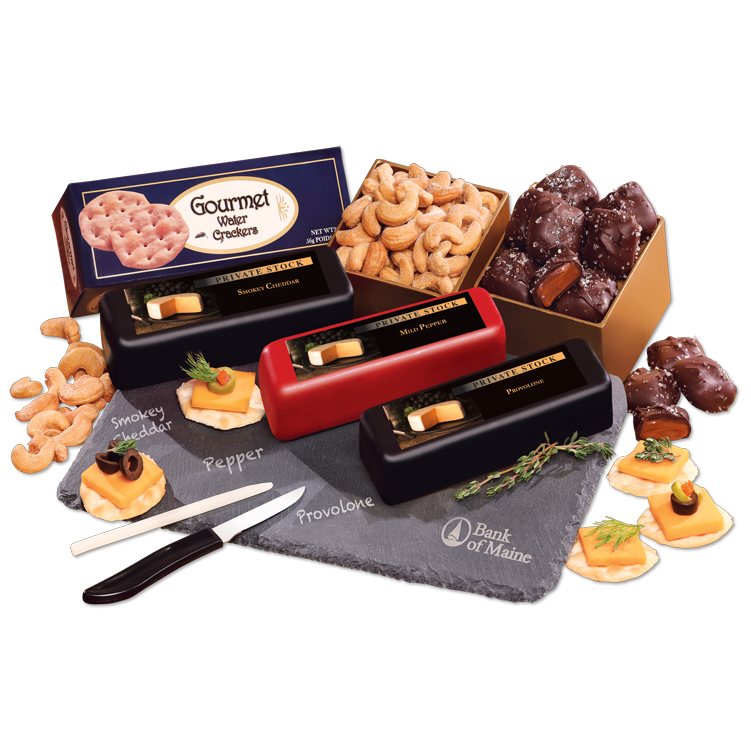Genuine Slate Cheese Plate with Shelf-Stable Party Favorites