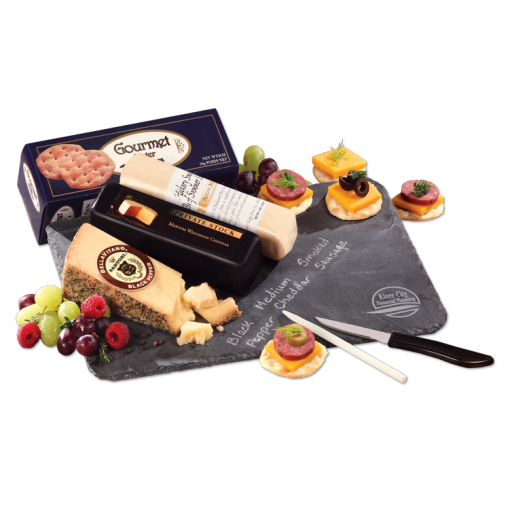 Genuine Slate Serving Plate with Wisconsin Cheese & Sausage