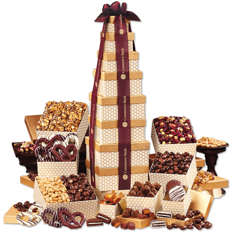 Golden Delights Giant Party Tower with Sheer Burgundy Ribbon