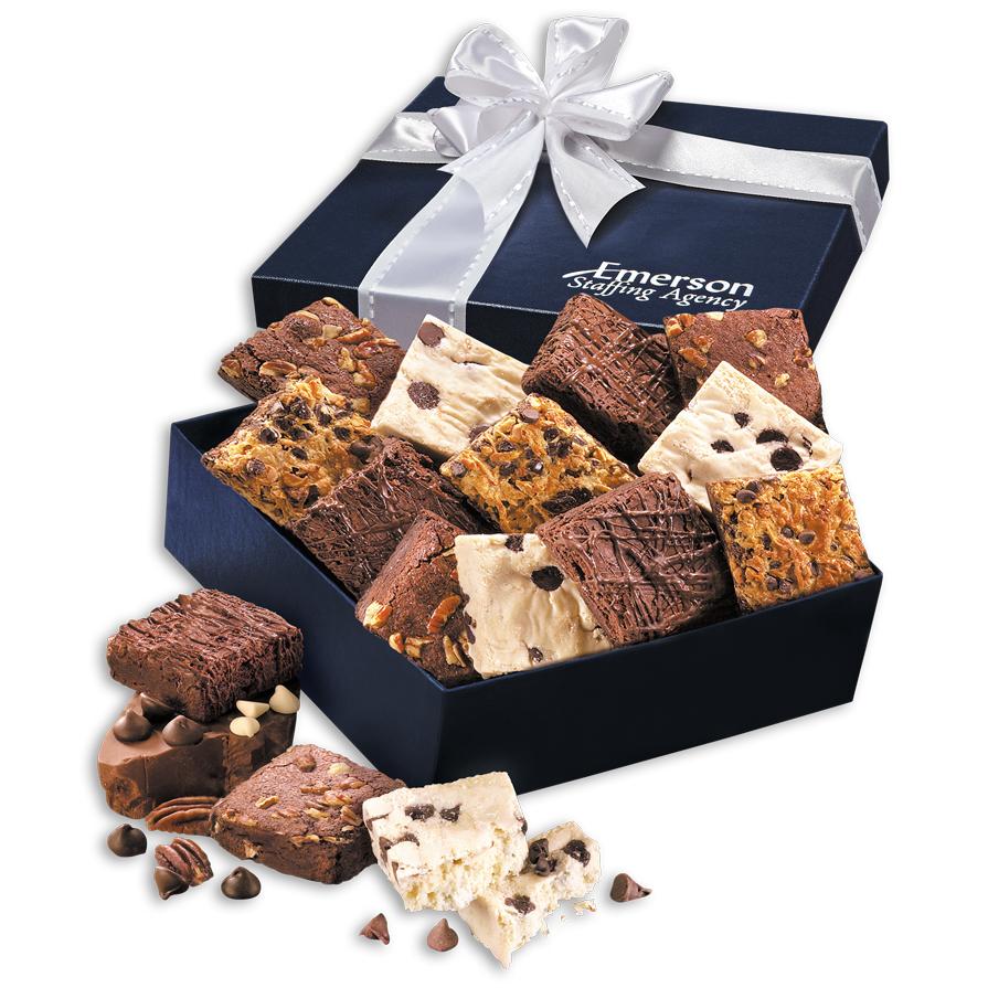 Gourmet Brownie Assortment in Navy Gift Box