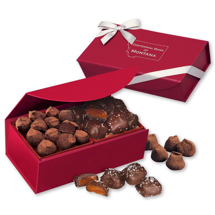 Sea Salt Caramels & Truffles in Red Magnetic Closure Box
