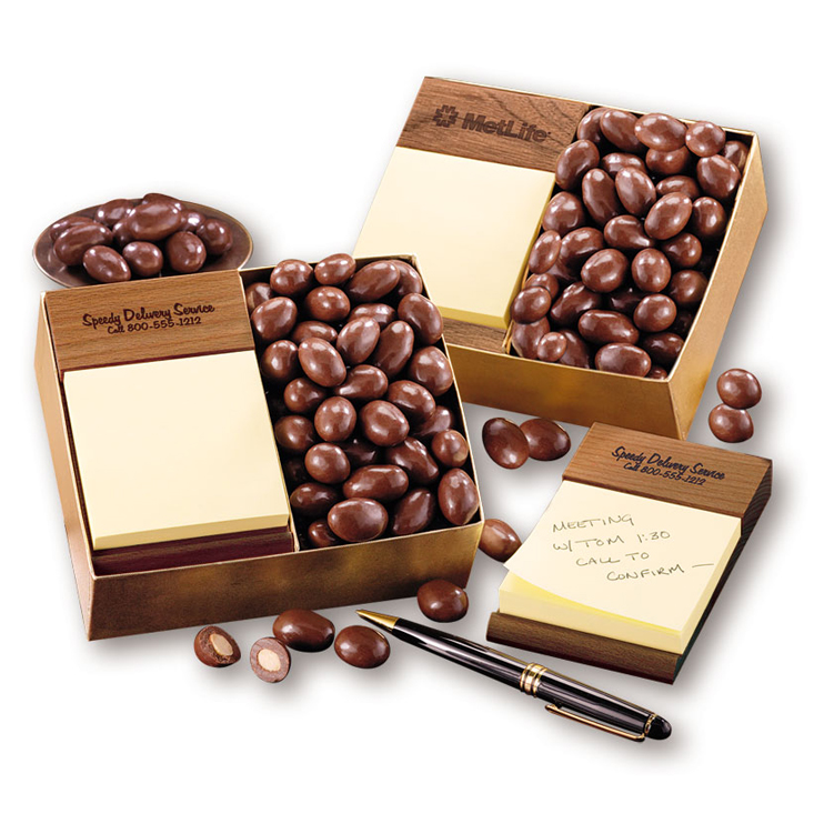 Walnut Post-it® Note Holder with Chocolate Covered Almonds