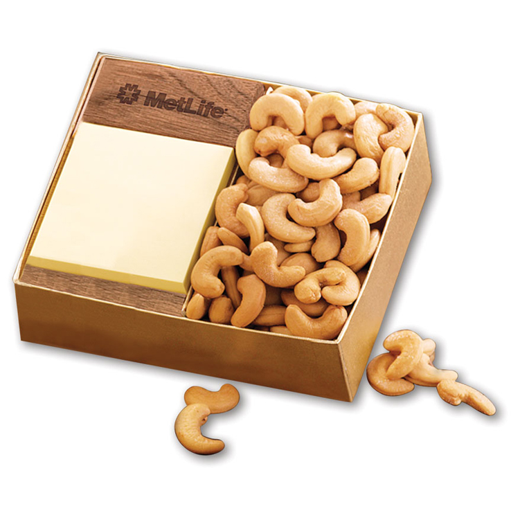 Walnut Post-it® Note Holder with Extra Fancy Jumbo Cashews