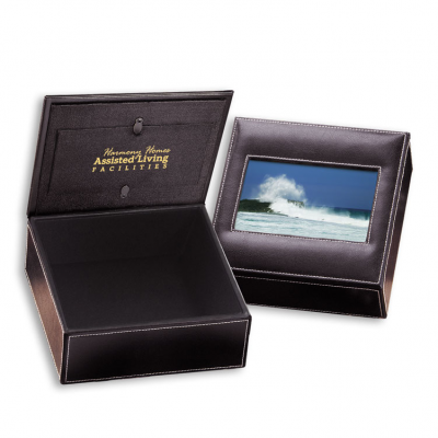 Faux Leather Photo Frame Keepsake Box
