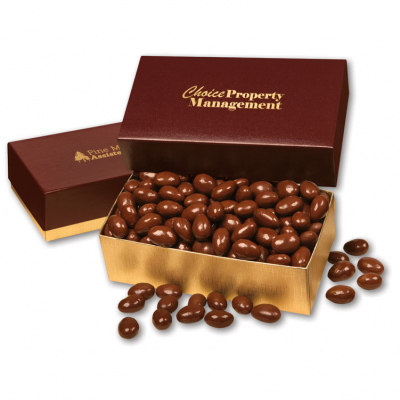 Chocolate Covered Almonds in Burgundy & Gold Gift Box