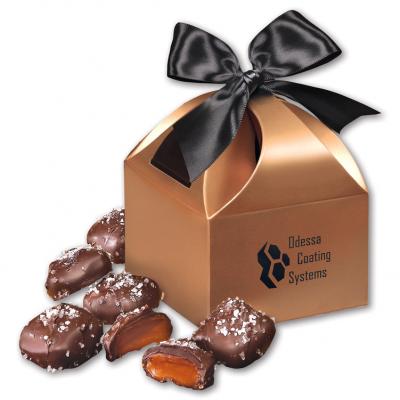 Chocolate Sea Salt Caramels in Copper Gift Box
