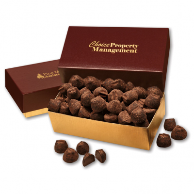 Cocoa Dusted Truffles in Burgundy & Gold Gift Box