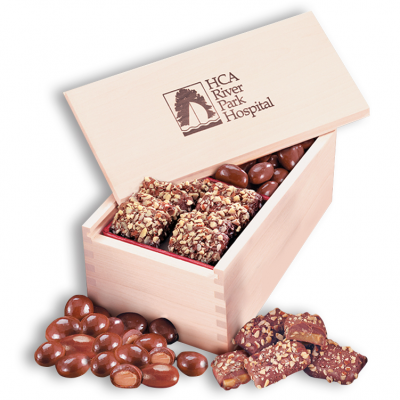 English Butter Toffee & Chocolate Covered Almonds in Wooden Collector's Box