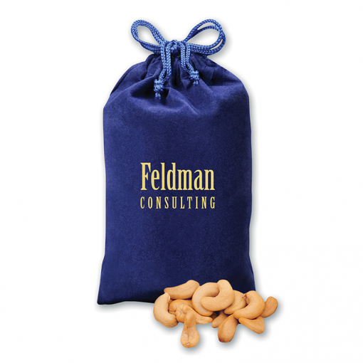 Extra Fancy Jumbo Cashews in Blue Velour Gift Bag