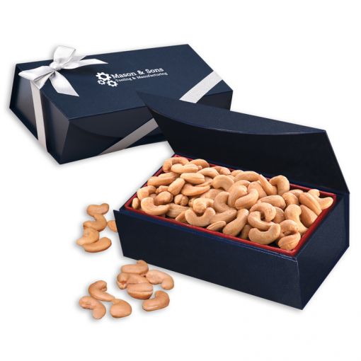 Extra Fancy Jumbo Cashews in Navy Magnetic Closure Gift Box