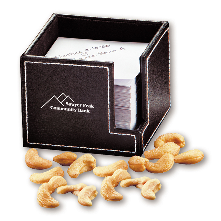 Faux Leather Note Holder with Extra Fancy Jumbo Cashews