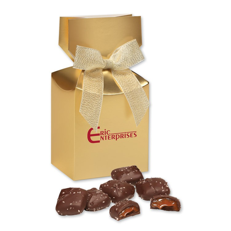 Chocolate Sea Salt Caramels in Gold Gift Box