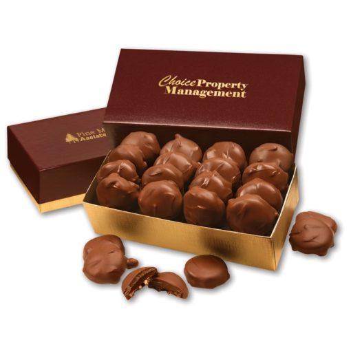Pecan Turtles in Burgundy & Gold Gift Box