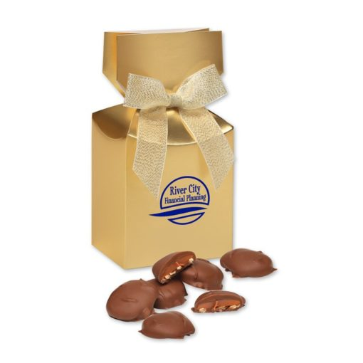 Pecan Turtles in Gold Gift Box