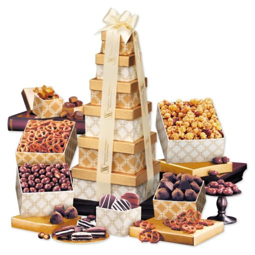 Golden Delights Tower with Ivory Ribbon