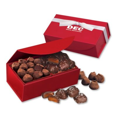 Chocolate Sea Salt Caramels & Cocoa Dusted Truffles in Red Magnetic Closure Box