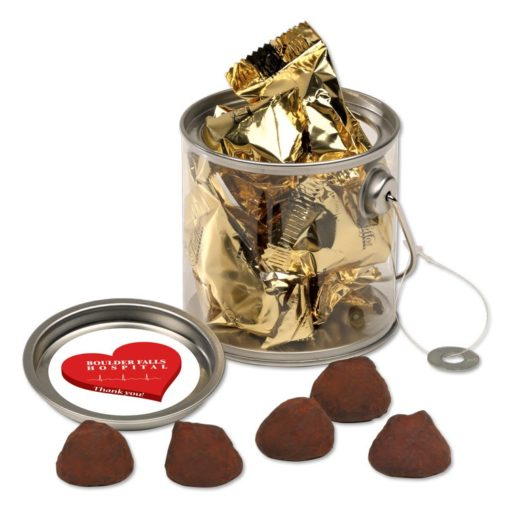 Clear Miniature Paint Buckets with Cocoa Dusted Truffles