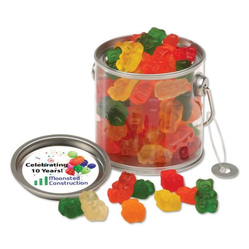 Clear Miniature Paint Buckets with Gummy Bears