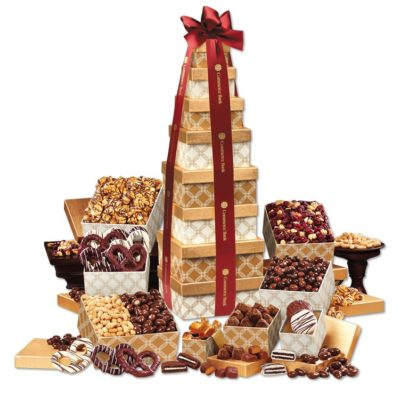 Golden Delights Giant Party Tower with Burgundy Ribbon