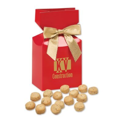 Gourmet Bite-Sized Butter Toffee Pecan Cookies in Red Premium Delights Gift Box