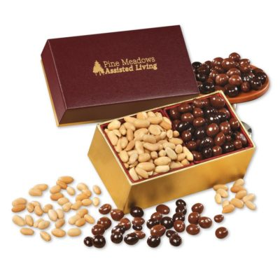 Peanuts & Chocolate Peanuts in Burgundy & Gold Gift Box