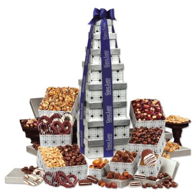 Silver Delights Giant Party Tower with Blue Ribbon
