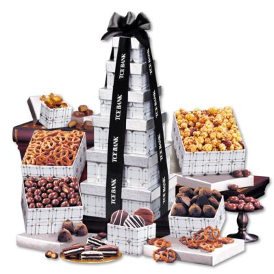 Silver Delights Tower with Black Ribbon