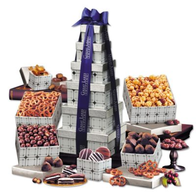 Silver Delights Tower with Blue Ribbon