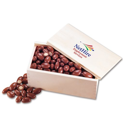 Chocolate Covered Almonds in Wooden Collector's Box (4 Color Process)