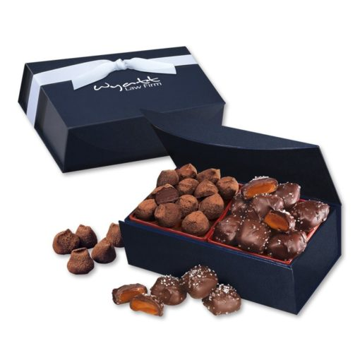Chocolate Sea Salt Caramels & Cocoa Dusted Truffles in Navy Magnetic Closure Box