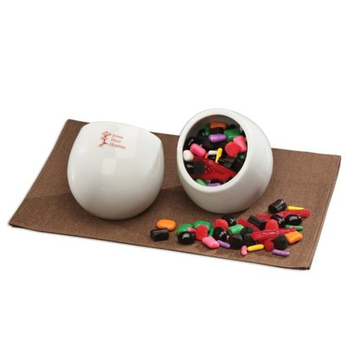 Modern White Candy Dish with Licorice Lovers Mix