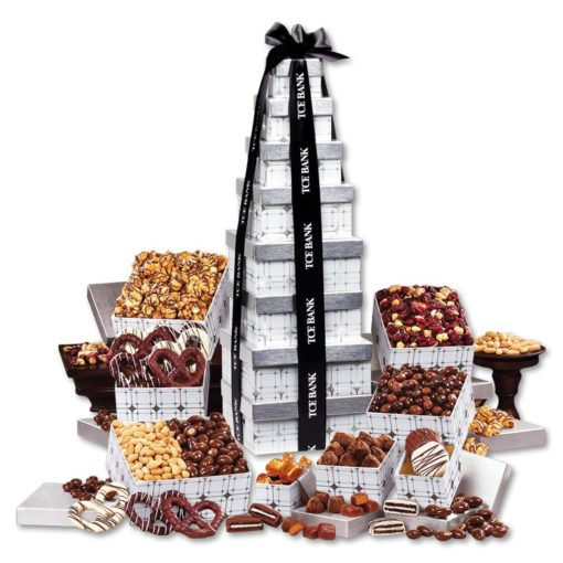 Silver Delights Giant Party Tower with Black Ribbon