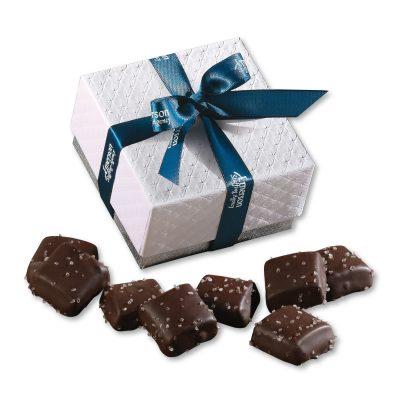 Chocolate Sea Salt Caramels in Pillow Top Gift Box