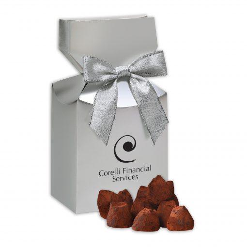 Cocoa Dusted Truffles in Silver Premium Delights Gift Box